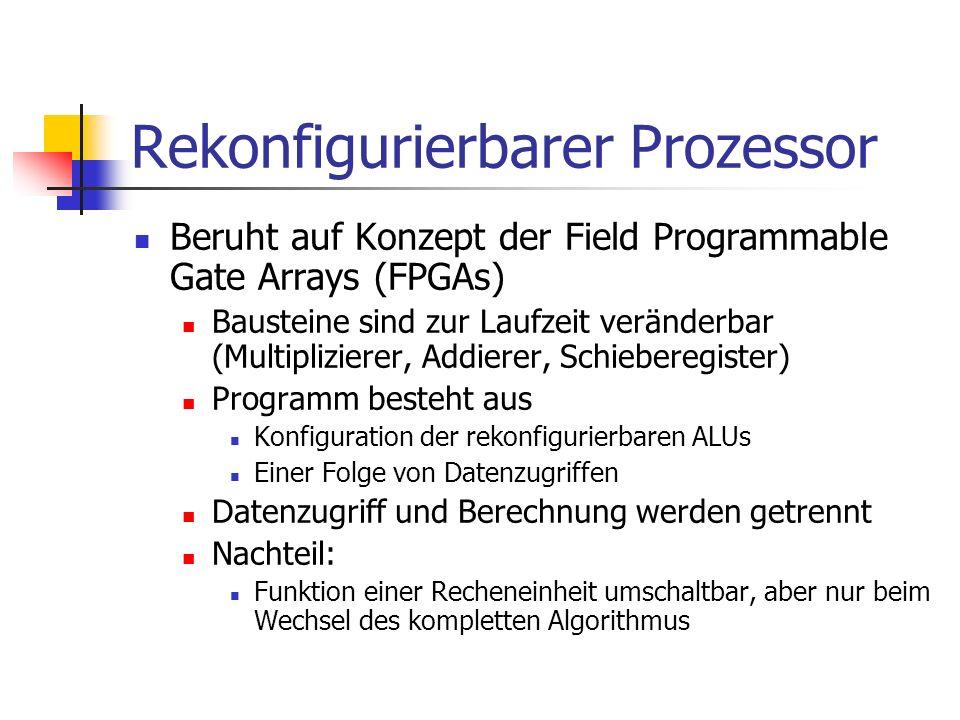 Rekonfigurierbarer Prozessor Beruht auf Konzept der Field Programmable Gate Arrays (FPGAs) Bausteine sind zur Laufzeit veränderbar (Multiplizierer, Ad