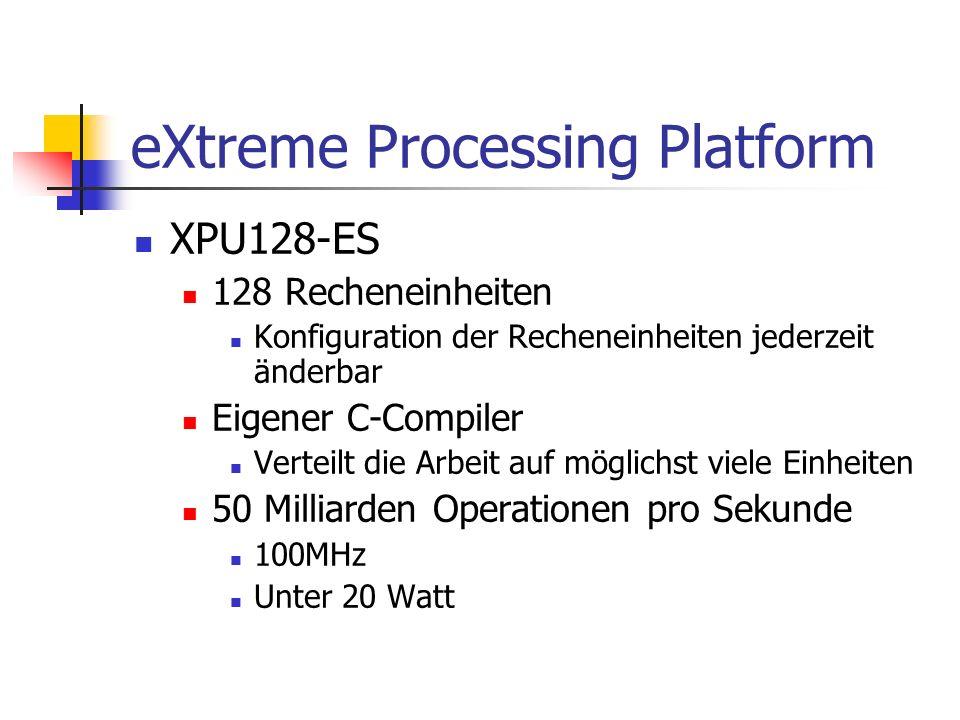 eXtreme Processing Platform XPU128-ES 128 Recheneinheiten Konfiguration der Recheneinheiten jederzeit änderbar Eigener C-Compiler Verteilt die Arbeit