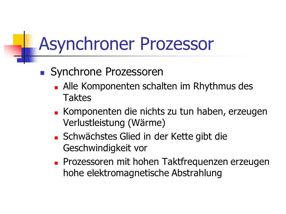 Asynchroner Prozessor Synchrone Prozessoren Alle Komponenten schalten im Rhythmus des Taktes Komponenten die nichts zu tun haben, erzeugen Verlustleis