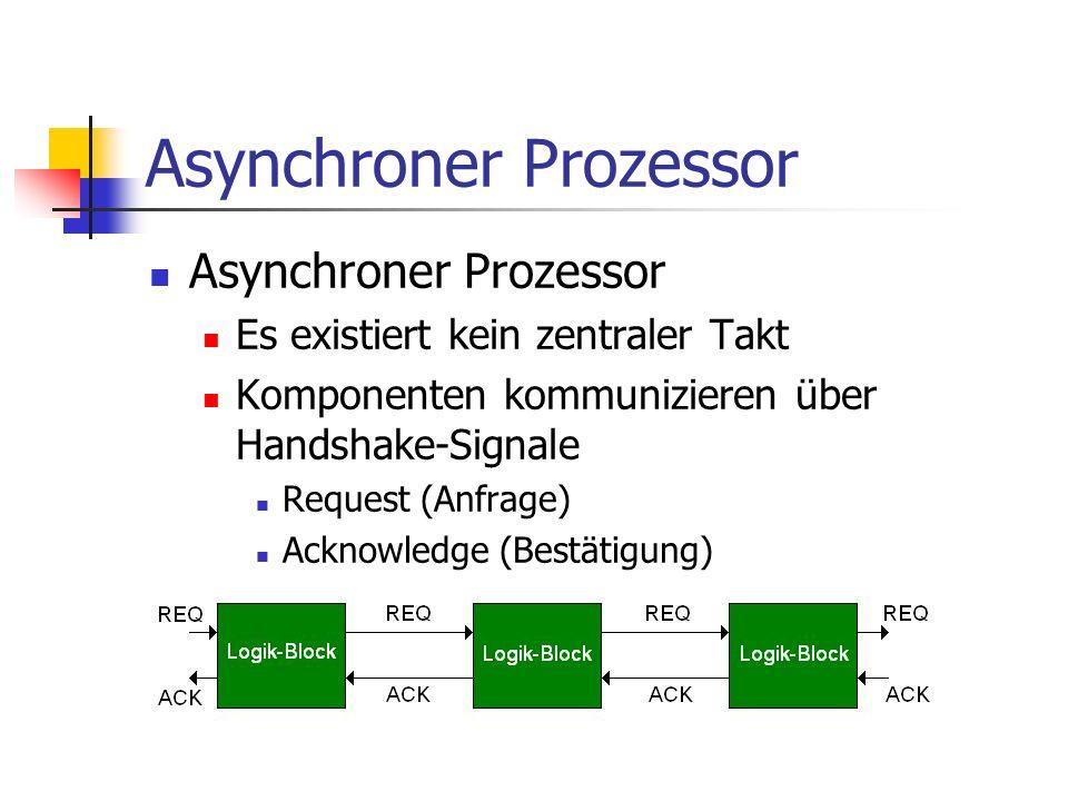 Asynchroner Prozessor Es existiert kein zentraler Takt Komponenten kommunizieren über Handshake-Signale Request (Anfrage) Acknowledge (Bestätigung)