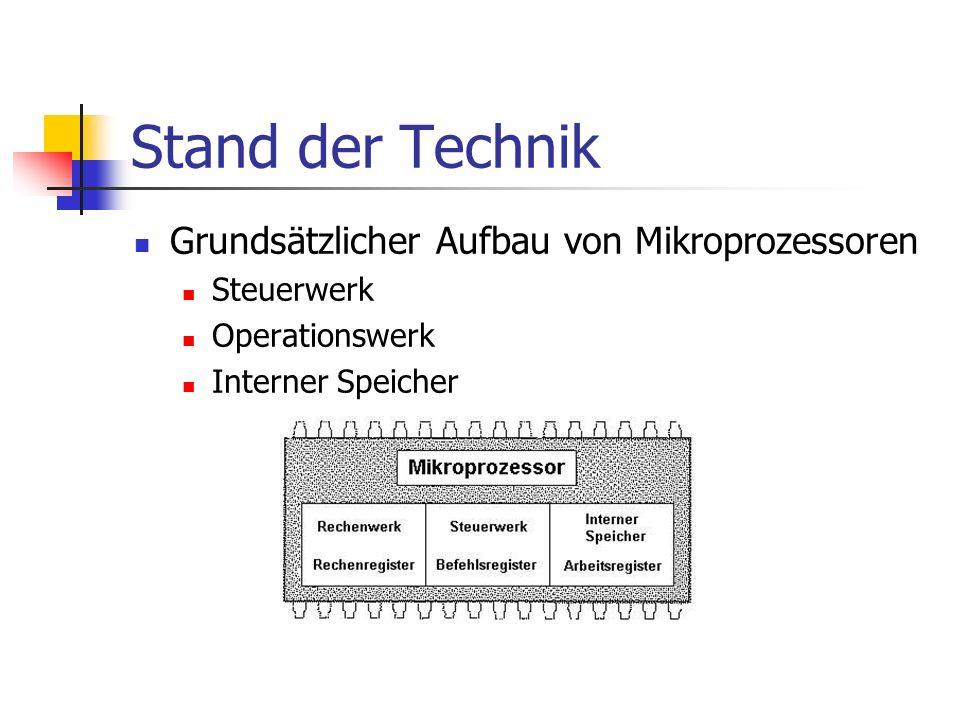 Stand der Technik Grundsätzlicher Aufbau von Mikroprozessoren Steuerwerk Operationswerk Interner Speicher