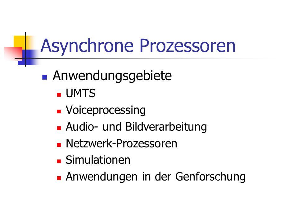 Asynchrone Prozessoren Anwendungsgebiete UMTS Voiceprocessing Audio- und Bildverarbeitung Netzwerk-Prozessoren Simulationen Anwendungen in der Genfors