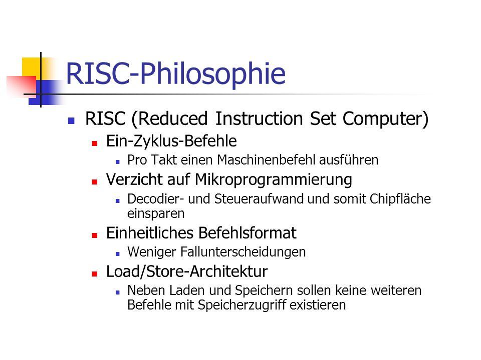 RISC-Philosophie RISC (Reduced Instruction Set Computer) Ein-Zyklus-Befehle Pro Takt einen Maschinenbefehl ausführen Verzicht auf Mikroprogrammierung