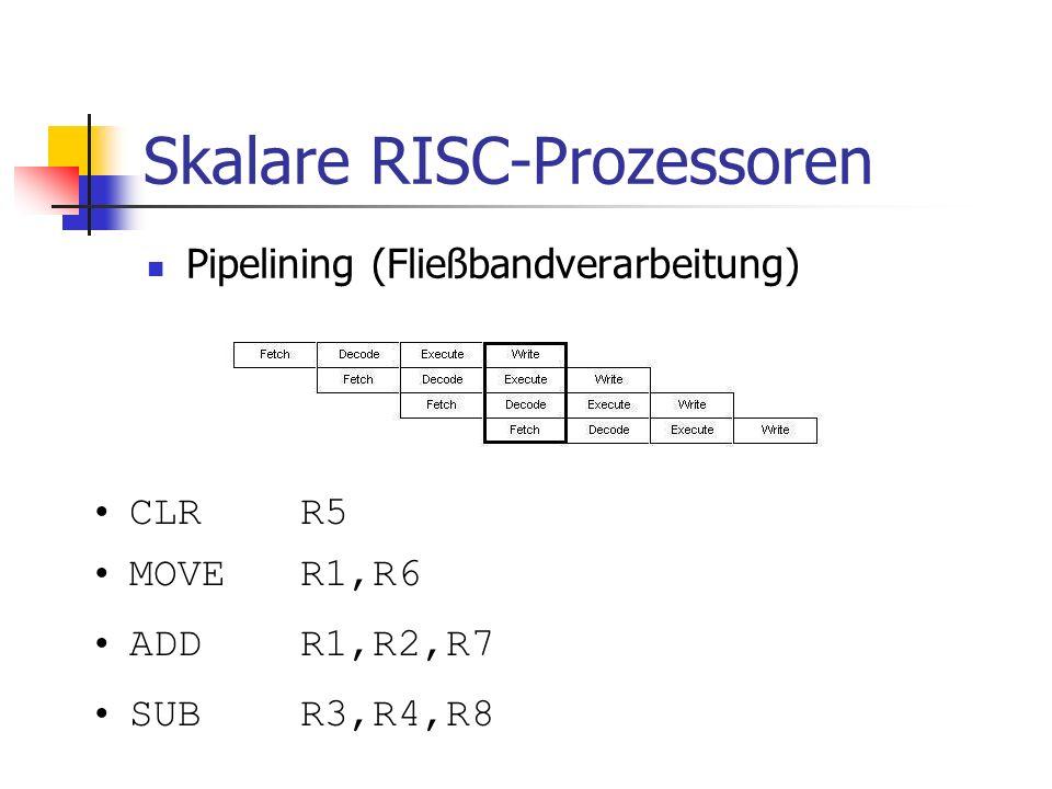 Skalare RISC-Prozessoren Pipelining (Fließbandverarbeitung) CLR R5 MOVER1,R6 ADDR1,R2,R7 SUBR3,R4,R8
