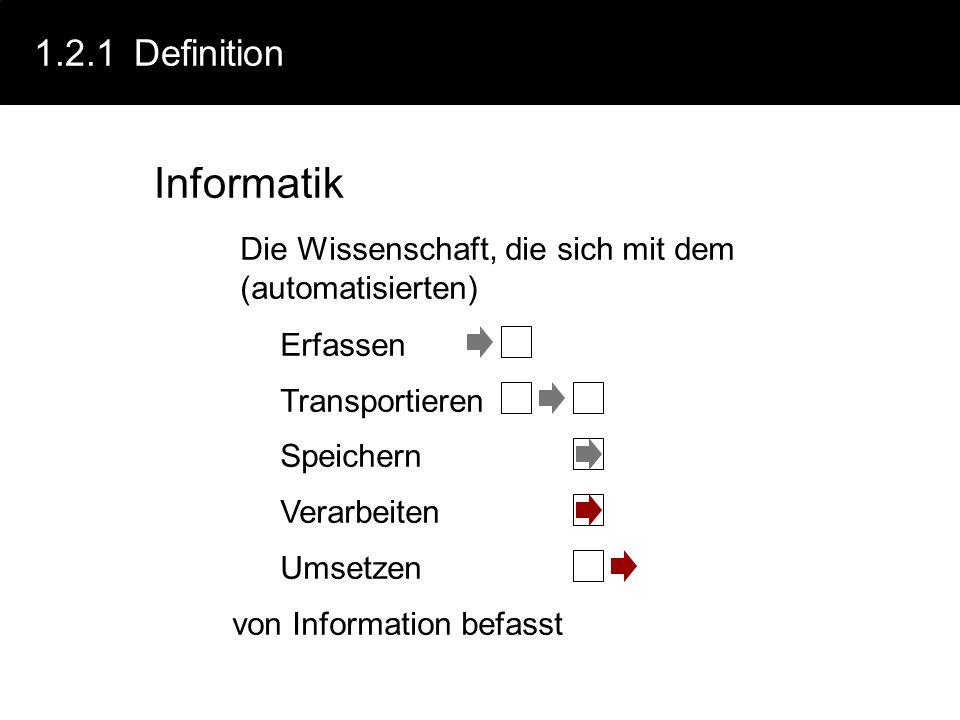 1.2.1Definition Informatik Die Wissenschaft, die sich mit dem (automatisierten) von Information befasst Erfassen Transportieren Speichern Verarbeiten