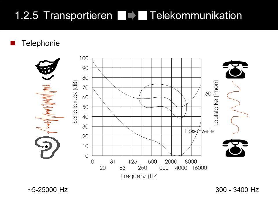 1.2.5Transportieren Telekommunikation Telephonie 300 - 3400 Hz ~5-25000 Hz