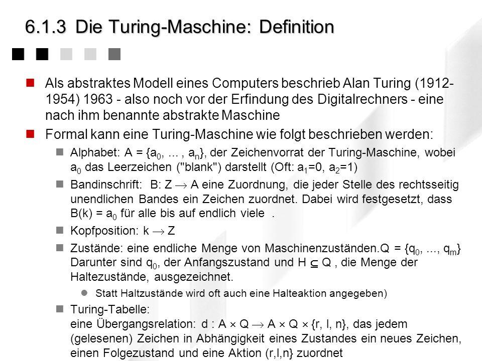 6.1.3Die Turing-Maschine: Definition Als abstraktes Modell eines Computers beschrieb Alan Turing (1912- 1954) 1963 - also noch vor der Erfindung des Digitalrechners - eine nach ihm benannte abstrakte Maschine Formal kann eine Turing-Maschine wie folgt beschrieben werden: Alphabet: A = {a 0,..., a n }, der Zeichenvorrat der Turing-Maschine, wobei a 0 das Leerzeichen ( blank ) darstellt (Oft: a 1 =0, a 2 =1) Bandinschrift: B: Z A eine Zuordnung, die jeder Stelle des rechtsseitig unendlichen Bandes ein Zeichen zuordnet.