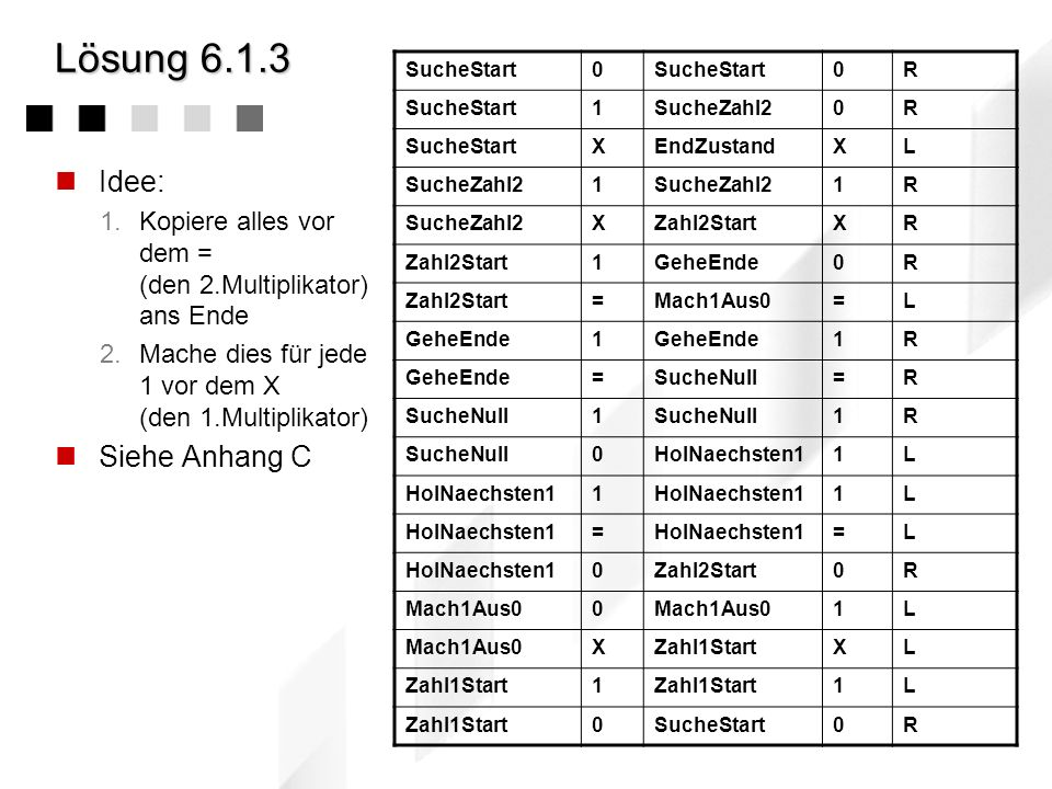 Lösung 6.1.3Turing-Maschine Aufgabenstellung Entwerfen Sie eine Turing-Maschine zur Multiplikation zweier natürlicher Zahlen. Spezifikation Eingabespe