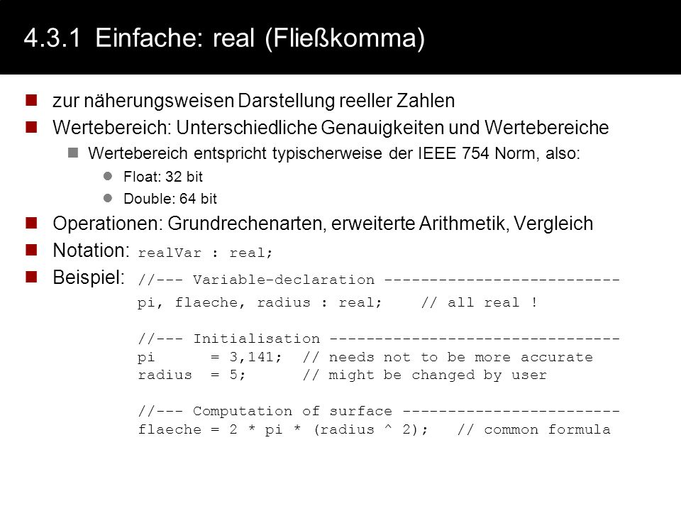4.3.1Einfache: enum (Aufzählung) zur Darstellung endlicher benutzerdefinierter Wertebereich Es ist guter Stil, Mengen mit (garantiert) kleiner Mächtig
