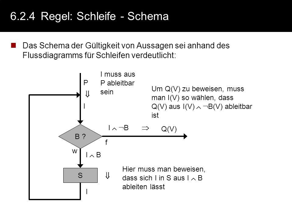 6.2.4Regel: Schleife Schema: wenn giltdann gilt auch {P I B} S {I} {I} while B { S } {I B Q}// I = Schleifeninvariante Schleifeninvarianten sind Zusic