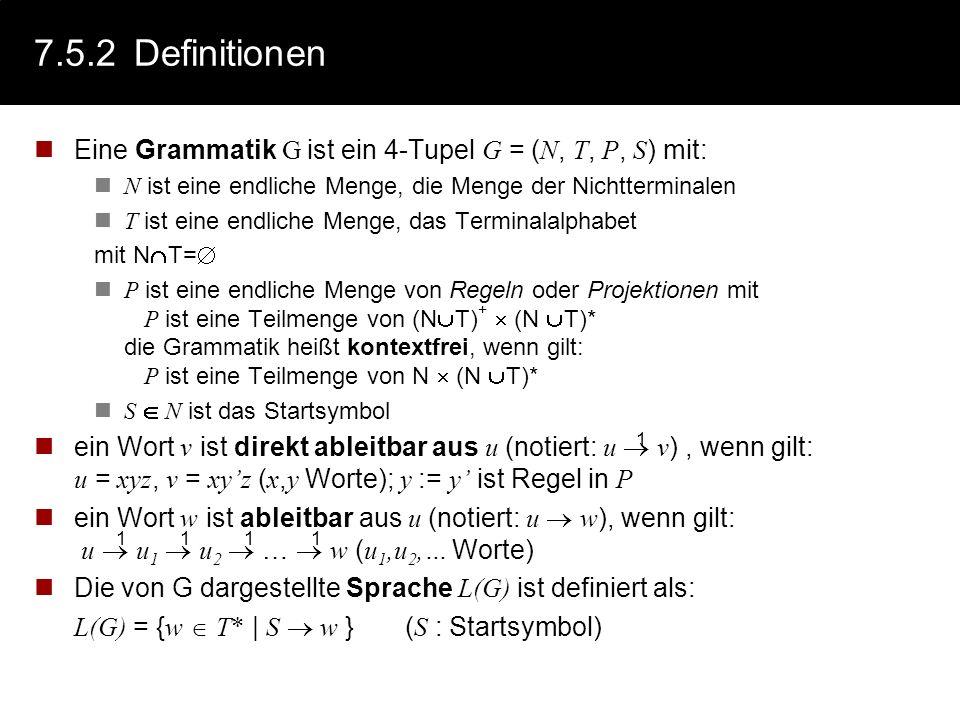 7.5.1Beispiel: Ein Wort der Sprache Beispiel := := | der | die | das := | | :=kleine | bissige | große :=Hund | Katze :=jagt | sieht := Ableitungsbaum