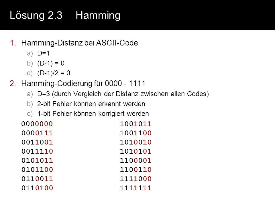 Lösung 2.2Huffmann d)H(x) = 4.,06 bit L = 4,1 bit R = L-H = 0,04 bit e)r = R/L = 0,01 p(x) (in %)l(x)p(x)*l(x) a6,5140,2604 b1,8960,1134 c3,0650,1530