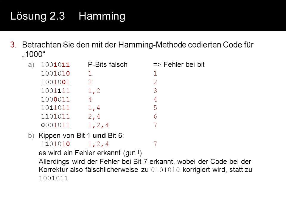 Lösung 2.3Hamming 1.Hamming-Distanz bei ASCII-Code a)D=1 b)(D-1) = 0 c)(D-1)/2 = 0 2.Hamming-Codierung für 0000 - 1111 a)D=3 (durch Vergleich der Dist
