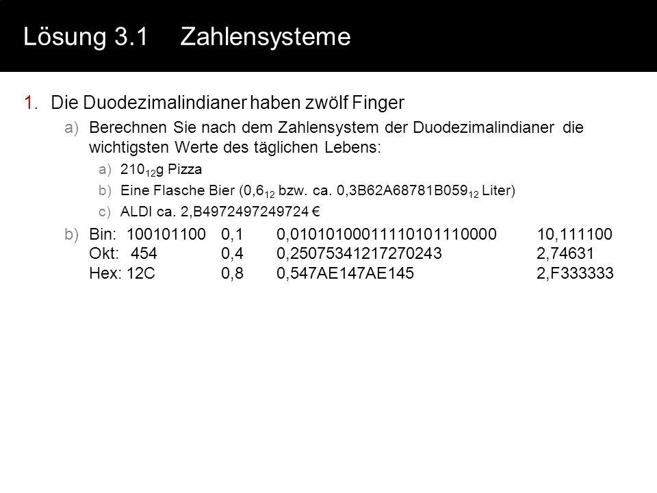 Lösung 2.3Hamming 3.Betrachten Sie den mit der Hamming-Methode codierten Code für 1000 a) 1001011 P-Bits falsch=> Fehler bei bit 100101011 100100122 1