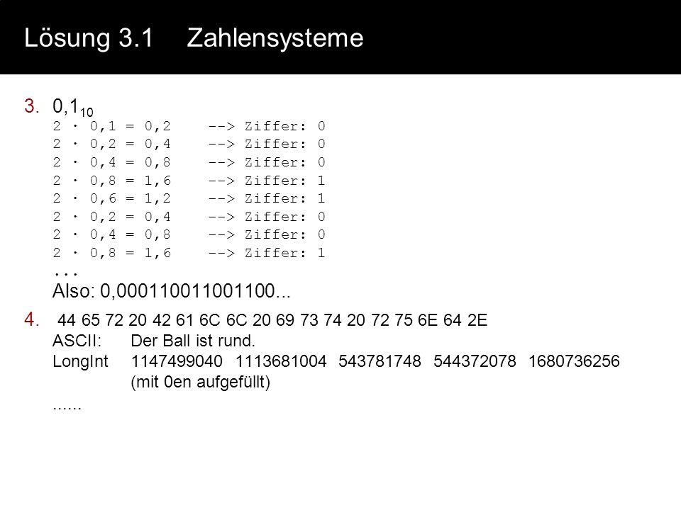 Lösung 3.1Zahlensysteme 2.Grundrechenarten 5681 10 : 19 10 = 2991011000110001 : 10011 = 100101011 3810011 18800011001 171 10011 171 0011010 171 10011