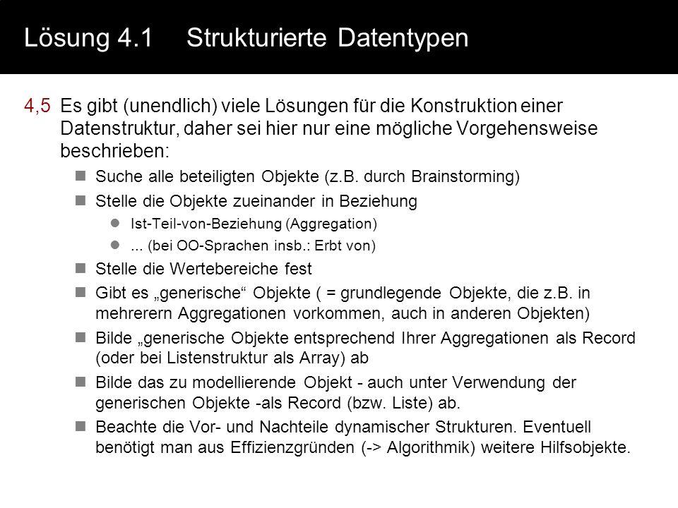 Lösung 4.1Strukturierte Datentypen 2.siehe Kapitel 4.1 3. Arrays verkettete Listen maximale Anzahl der Elementemaximale Anzahl der Elemente ist bekann