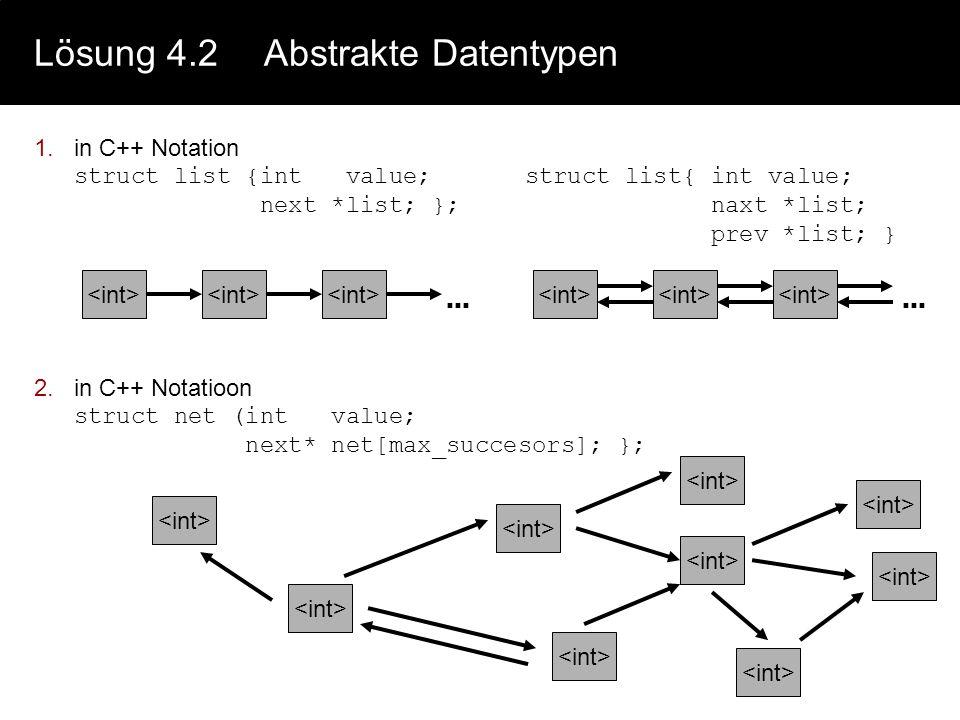 Lösung 4.1Strukturierte Datentypen 4,5Es gibt (unendlich) viele Lösungen für die Konstruktion einer Datenstruktur, daher sei hier nur eine mögliche Vo