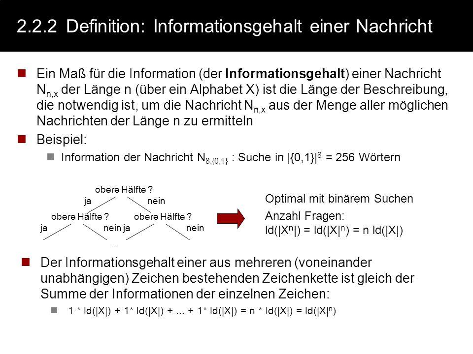 2.2.1 Definition: Nachricht sei Alphabet X: Menge von Symbolen/Zeichen X = {x 1, x 2,... x n } Eine Zeichenkette (ein Wort) der Länge n über X ist ein
