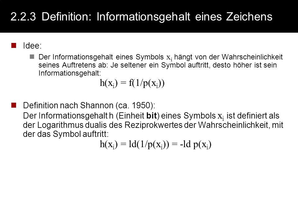 2.2.2 Definition: Informationsgehalt einer Nachricht Ein Maß für die Information (der Informationsgehalt) einer Nachricht N n,x der Länge n (über ein