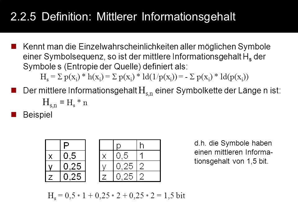 2.2.4Beispiel: Informationsgehalt Beispiel: Sei die Wahrscheinlichkeit von E = 0,5 und die von H = 0,25 Informationsgehalt des Zeichens E : h E = ld (