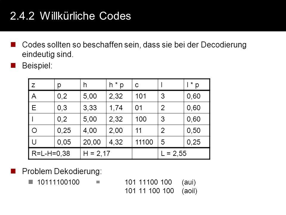 2.4.1Was ist ein Code Definition: Seien X,Y zwei Alphabete Eine Codierung ist eine Abbildung C:X n Y m aller n-Tupel aus X nach m- Tupel aus Y. oft is