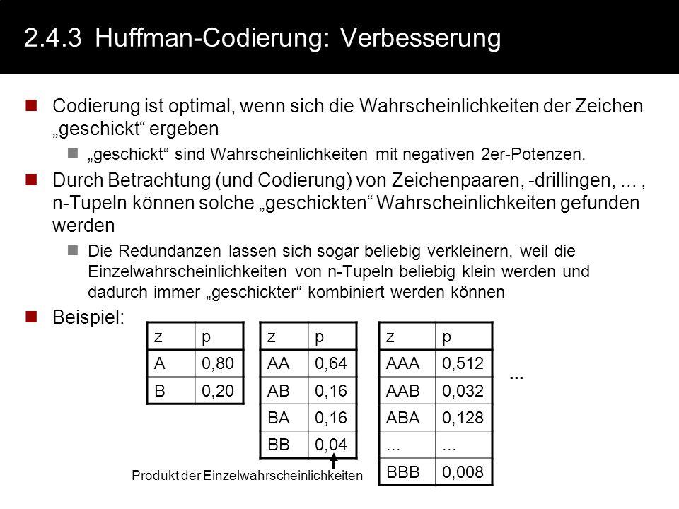 2.4.3Huffman-Codierung: Vorgehen Der Baum wird von oben nach unten mit den zwei Buchstaben (oder Buchstabengruppen) mit den jeweils kleinsten Wahrsche