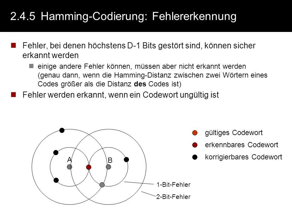 2.4.4Hamming-Codierung: Hamming-Distanz Definition: Der Hamming-Abstand (die Hamming-Distanz D) zwischen zwei Wörtern ist die Anzahl der Stellen, an d