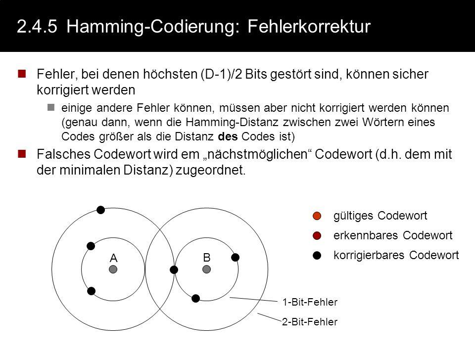 2.4.5Hamming-Codierung: Fehlererkennung Fehler, bei denen höchstens D-1 Bits gestört sind, können sicher erkannt werden einige andere Fehler können, m