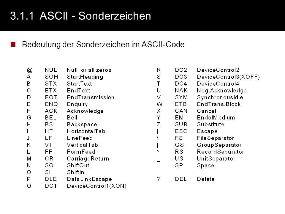 3.1.1ASCII -Tabelle (7Bit) American Standard Code for Information Interchange