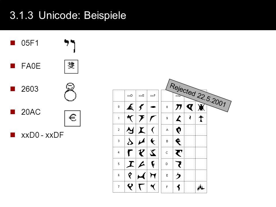 3.1.3Unicode Aktuelle Version 4.0.0 (siehe auch www.unicode.org) Buchstaben und Symbole aus allen wichtigen geschriebenen Sprachen der Welt Amerika, E
