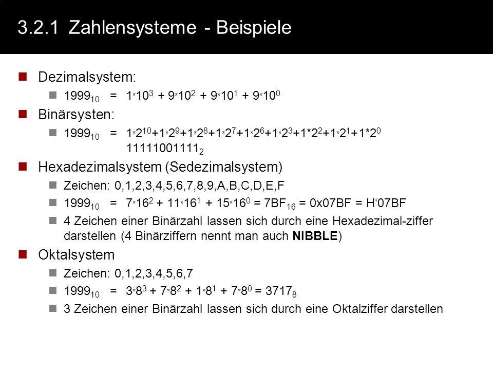 3.2.1Zahlensysteme Nicht systematische Zahlendarstellungen, z.B.: Strichliste: I, II, III, IIII, IIII, IIII I,... römische Zahlen:MIM, IX,.... Systema