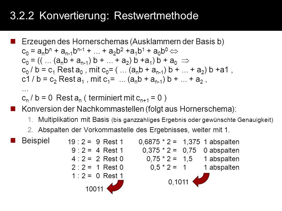 3.2.2Konvertierung: Intuitivmethode Addition von geigneten Zweierpotenzen (Dezimalzahl Dualzahl) positive Zweierpotenzen für Vorkommaanteil negative Z