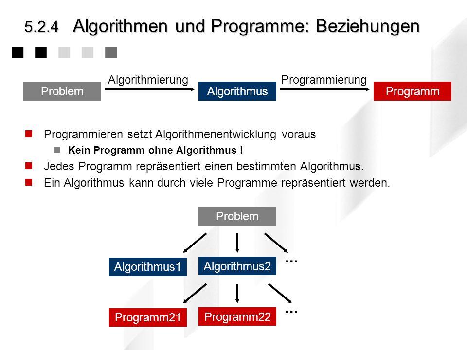 5.2.4Algorithmen und Programme: Der Weg gegeben: das Problem durch Spezifizieren wird das Problem formal beschrieben Durch Algorithmierung (Algorithme