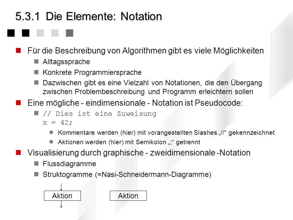 5.3.1Die Elemente: Aus dem Beispiel Zuweisungen Berechnungen Mathematische Grundoperationen komplexe Funktionen... Bedingte Ausführungen Schleife... V