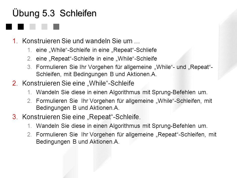 Übung 5.2Abweisende Schleife 1.Notieren Sie das Beispiel der abweisenden Schleife als 1.Flussdiagramm 2.Struktogramm 2.Formulieren Sie die while-Schle