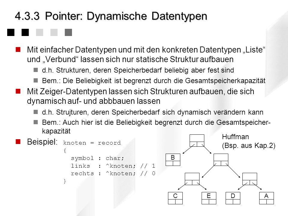 4.3.3Pointer: Dynamische Datentypen Mit einfacher Datentypen und mit den konkreten Datentypen Liste und Verbund lassen sich nur statische Struktur auf