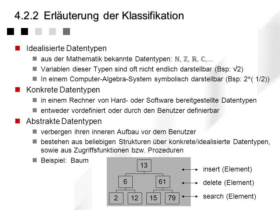 4.2.2Erläuterung der Klassifikation Idealisierte Datentypen aus der Mathematik bekannte Datentypen:,,,,... Variablen dieser Typen sind oft nicht endli