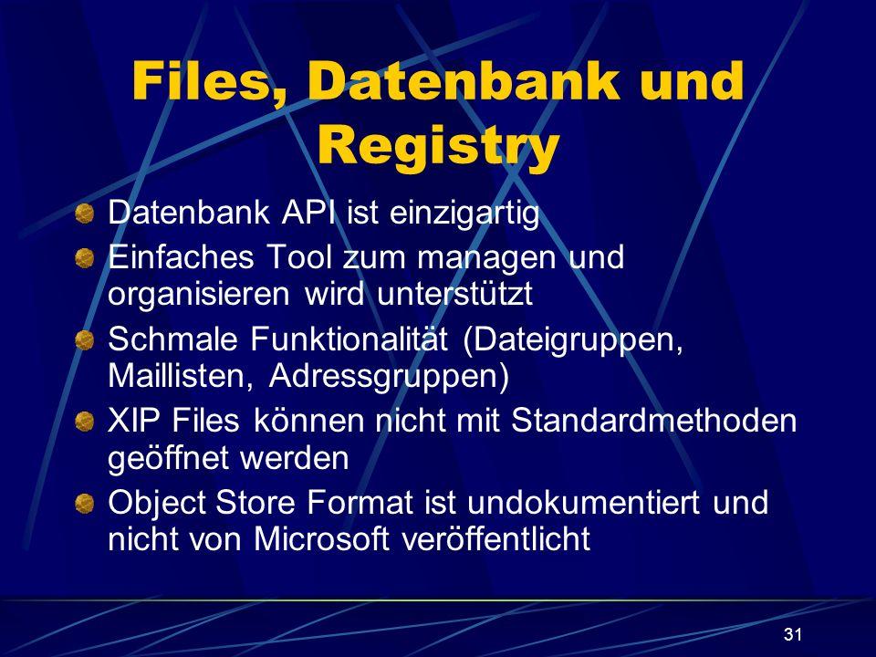 31 Files, Datenbank und Registry Datenbank API ist einzigartig Einfaches Tool zum managen und organisieren wird unterstützt Schmale Funktionalität (Da