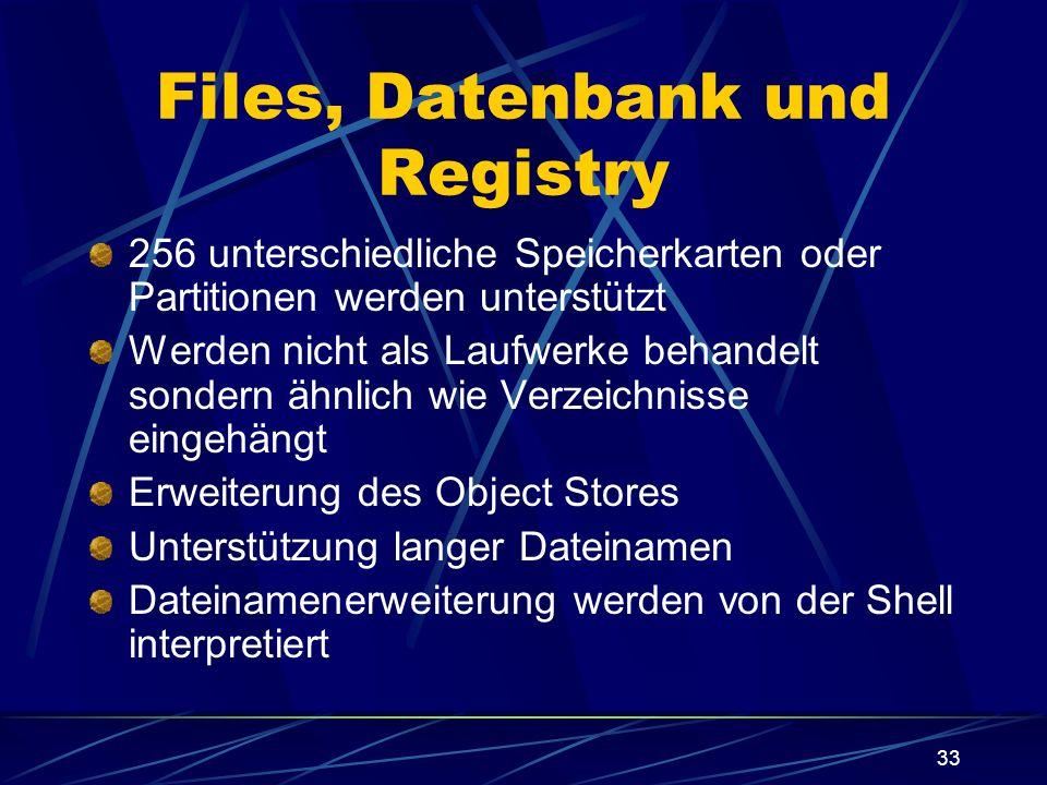 33 Files, Datenbank und Registry 256 unterschiedliche Speicherkarten oder Partitionen werden unterstützt Werden nicht als Laufwerke behandelt sondern