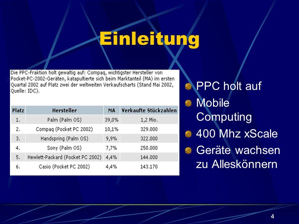 4 Einleitung PPC holt auf Mobile Computing 400 Mhz xScale Geräte wachsen zu Alleskönnern