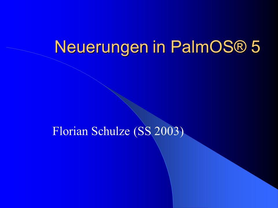 Einleitung PalmOS ist führend bei Handhelds Portierung auf die ARM Architektur Multimedia Erweiterungen Sicherheits Optionen Erweiterte Wireless Funktionen Kompatibilität