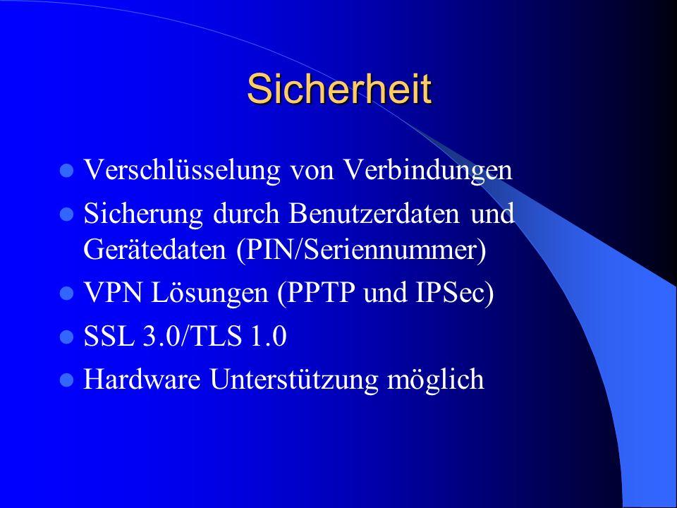 Sicherheit Verschlüsselung von Verbindungen Sicherung durch Benutzerdaten und Gerätedaten (PIN/Seriennummer) VPN Lösungen (PPTP und IPSec) SSL 3.0/TLS 1.0 Hardware Unterstützung möglich