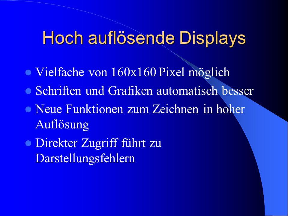 Hoch auflösende Displays Vielfache von 160x160 Pixel möglich Schriften und Grafiken automatisch besser Neue Funktionen zum Zeichnen in hoher Auflösung Direkter Zugriff führt zu Darstellungsfehlern
