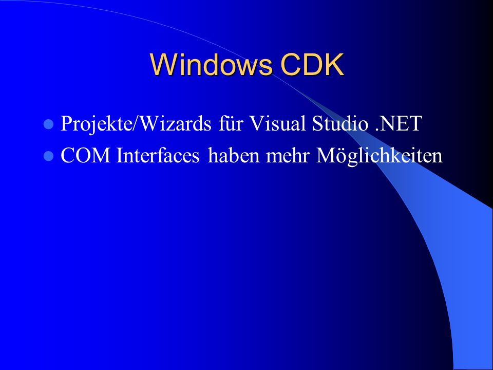 Windows CDK Projekte/Wizards für Visual Studio.NET COM Interfaces haben mehr Möglichkeiten