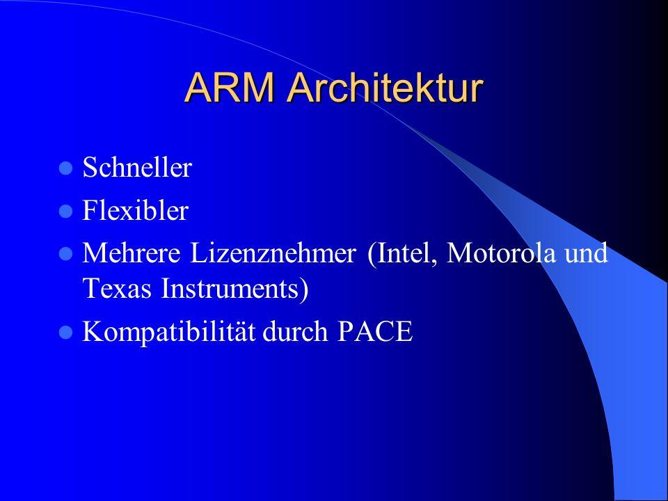 ARM Architektur Schneller Flexibler Mehrere Lizenznehmer (Intel, Motorola und Texas Instruments) Kompatibilität durch PACE