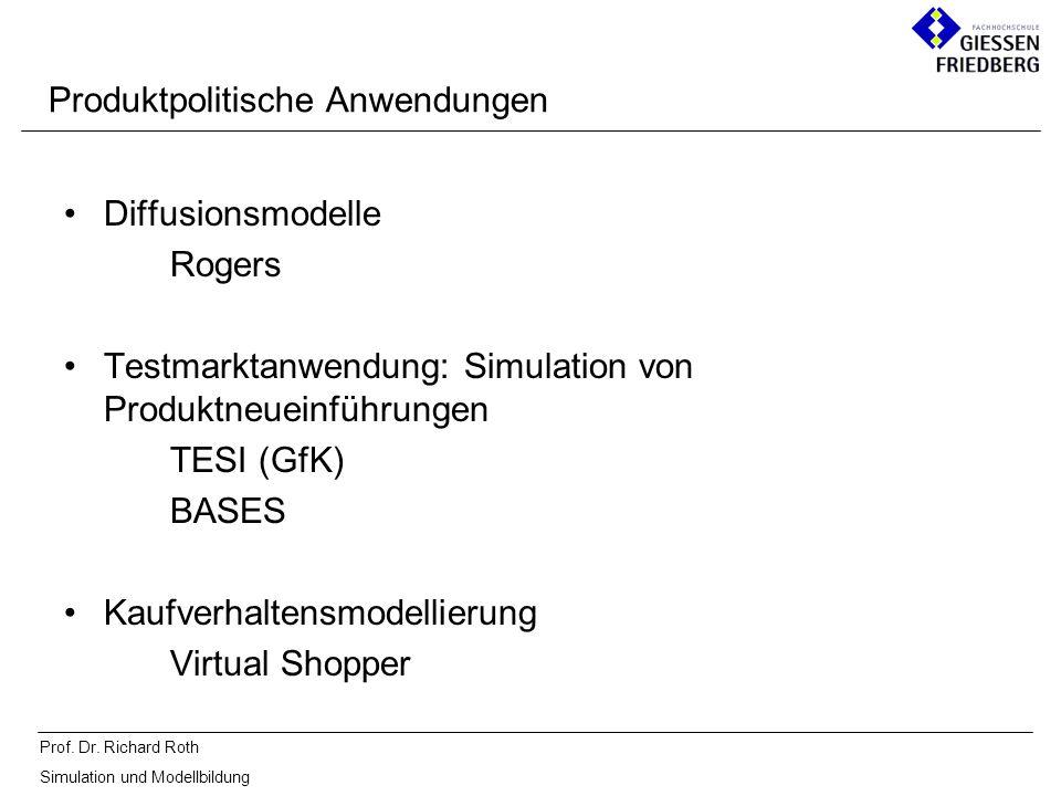 Prof. Dr. Richard Roth Simulation und Modellbildung Diffusionsmodelle Rogers Testmarktanwendung: Simulation von Produktneueinführungen TESI (GfK) BASE