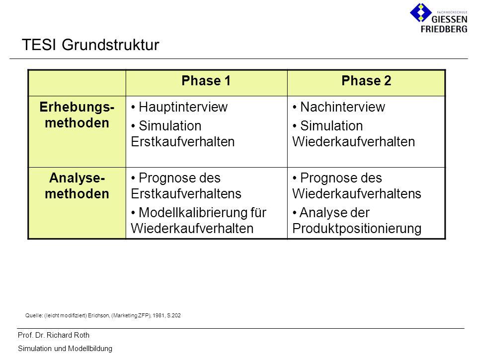 Prof. Dr. Richard Roth Simulation und Modellbildung TESI Grundstruktur Phase 1Phase 2 Erhebungs- methoden Hauptinterview Simulation Erstkaufverhalten