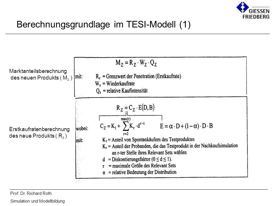 Prof. Dr. Richard Roth Simulation und Modellbildung Berechnungsgrundlage im TESI-Modell (1) Marktanteilsberechnung des neuen Produkts ( M z ) Erstkauf