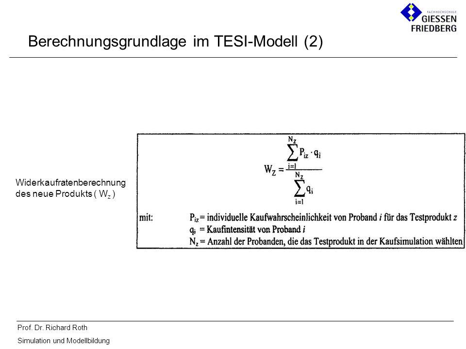 Prof. Dr. Richard Roth Simulation und Modellbildung Berechnungsgrundlage im TESI-Modell (2) Widerkaufratenberechnung des neue Produkts ( W z )