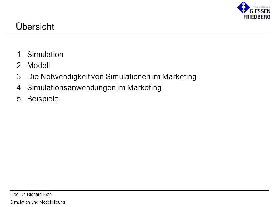 Prof. Dr. Richard Roth Simulation und Modellbildung Übersicht 1.Simulation 2.Modell 3.Die Notwendigkeit von Simulationen im Marketing 4.Simulationsanw